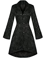 Ladies Black Gothic Military Satin Steampunk Floral Brocade Jacket Coat Excellent Quality