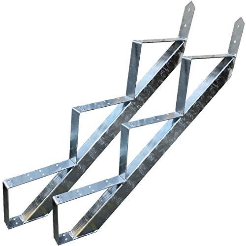 3 Stufen Treppenrahmen Stahl-Treppenwange Treppenholm Geschosshöhe 53cm Verzinkt/Ideal für den Einsatz im Innen und Außenbereich