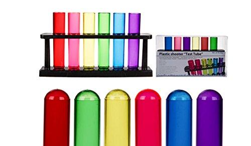 Schnapsgläser Kunststoff Shooter Reagenzglas Design 24 Stück mit Halter zum Servieren