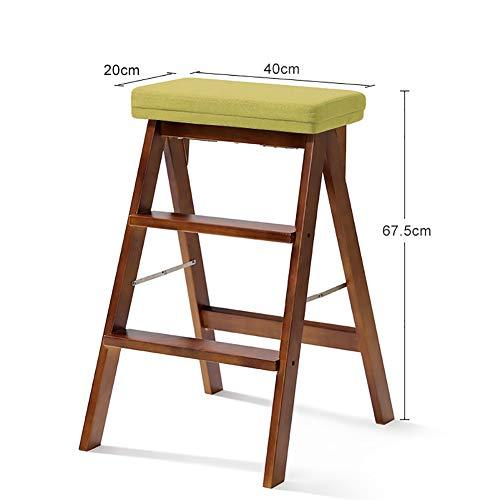 ChangDe Holzstufenhocker Massivholz-faltender Schritt-Schemel-Leiter für Erwachsen-Küche Hölzerner beweglicher Faltbarer Trittleiter-Multifunktionshoher Schemel-Bank Trittleiter aus Holz (Color : #4)