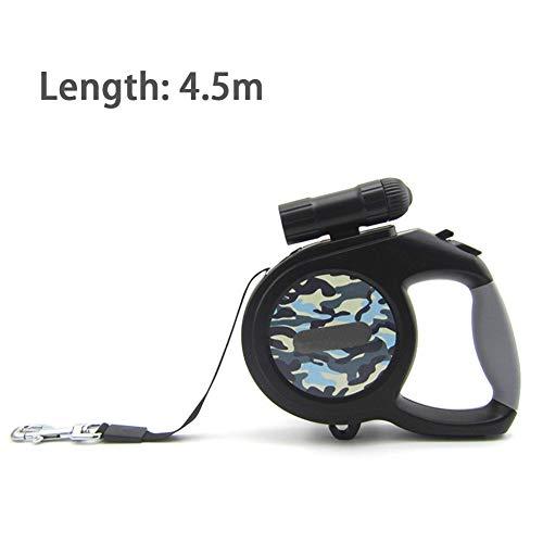 ZZYQ Haustierleine, Automatisches Teleskopseil, LED-Taschenlampe,Blue,4.5M