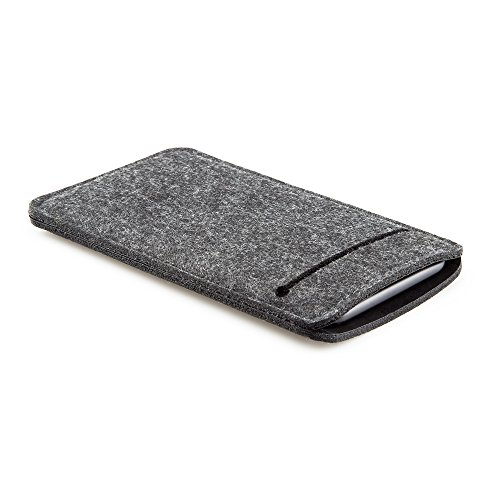 FORMGUT® Phone Bag I für iPhone X // Schutzhülle Tasche Socke Hülle aus Filz passgenaue Tasche mit weichem Innenfutter smartphone handy case Sleeve mit zweiter Tasche auf Rückseite // Schwarz (X Fell Filz 4)