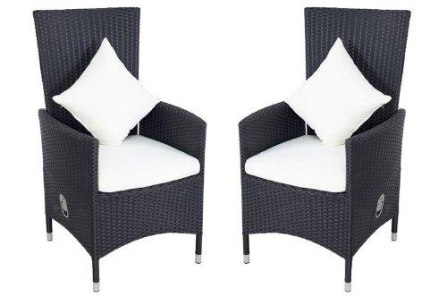 OUTFLEXX 2er-Set Sessel aus hochwertigem Polyrattan in schwarz, ca. 66,5 x 70 x 110 cm, inkl....