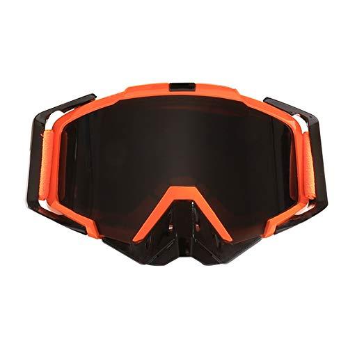 SonMo Motorrad Brille Arbeitsbrille Schneebrille Sportbrille Skibrille Radbrille Snowboardbrille Nachtsichtbrille PC Orange Grau Skibrille Winddicht Blendschutz mit UV Schutz