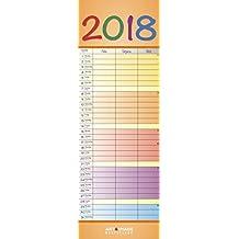 Regenbogen schmal 2018 - Streifenkalender, Familienplaner  -  14,5 x 42 cm