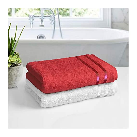 Story@Home 100% Cotton 2 Piece Bath Towel Set, 450 GSM (55 inch x 27 inch)