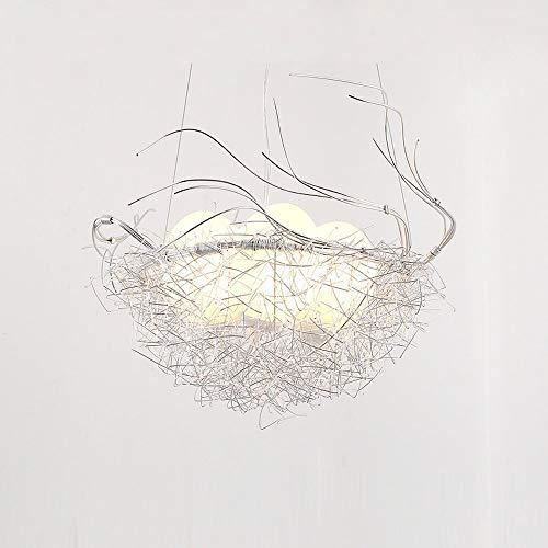 Wandleuchte Chrom Kerze (HYLH Höhenverstellbar 15W LED Warmweiß 3000K Pendelleuchte, Modern Kreativ Nest Hängelampe, Ø55 * H30 cm, Chrom Aluminium Weiß Pendellampe;r Schlafzimmer Esszimmer)