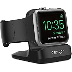 Support Apple Watch, Spigen [Station de Chargement][Prime TPU] Support Apple Watch Compatible avec Apple Montre mode Nightstand pour Apple Watch Series (2015), Apple Watch Series 2(2016), Apple Watch Series 3(2017), Apple Watch Sports, Support de montre Apple - S350 Noir