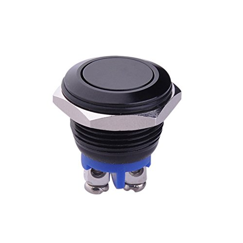 """Yakamoz 16mm 5/8"""" Metal Momentary Push Button Switch 3A/250V AC SPST 1NO Industrial Car Switch - Black Shell Test"""