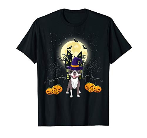 Boston Terrier Halloween T-shirt Funny Dog Pumpkin Halloween T-Shirt (Halloween Terrier Boston)