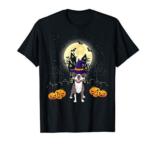 Boston Terrier Halloween T-shirt Funny Dog Pumpkin Halloween T-Shirt