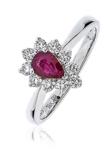 0,78G/VS2certificato ct Rubino forma di pera Centro con taglio brillante rotondo forma di pera Halo Diamante Anello In Oro Bianco 18K, oro bianco, 56 (17.8), cod.