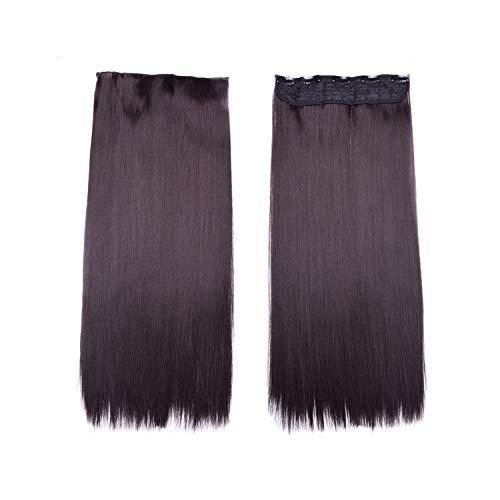 Synthetische Clip Haarteile Hohe Temperatur 60 Cm Lange Gerade 5 Clip Frauen Haarverlängerungen Natürliche Farbe 24 Zoll -
