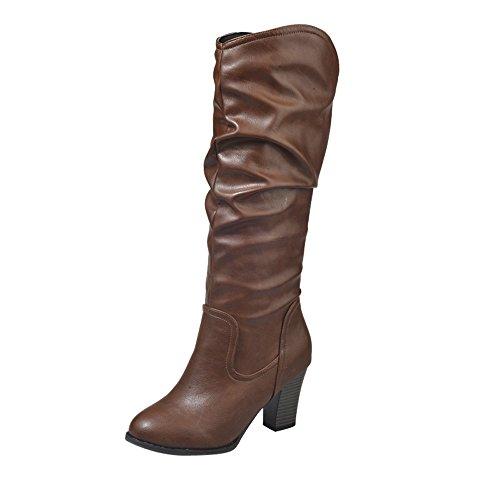 Stiefel Damen Boots Leder Boots Frauen Winter Plüsch Stiefel High Heel Combat Boots Wild Outdoor Freizeitschuhe Party Mittel Stiefeletten ABsoar -