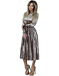 HOMEBABY Ladies Velvet Maxi Dress, Women Elegant Formal Evening Wedding Cocktail Party Retro Swing Dress