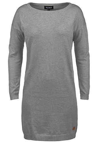 DESIRES Ella Damen Strickkleid Feinstrick Kleid Longsleeve mit Rundhals aus hochwertigem Material, Größe:L, Farbe:Grey Melange (8236)