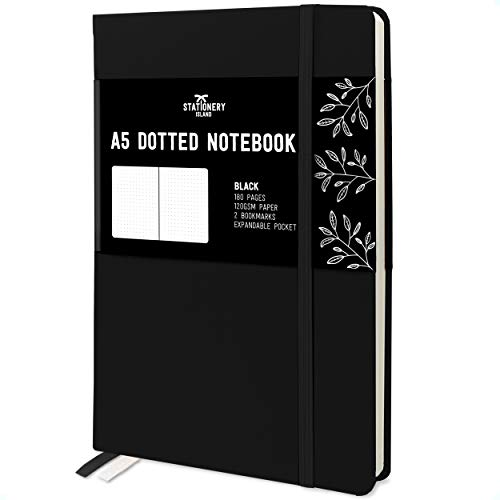 Stationery Island A5 Dotted Notizbuch - Schwarz. Hardcover Bullet Journal Buch Kariert Mit 180 Seiten Und Premium 120gsm Papier