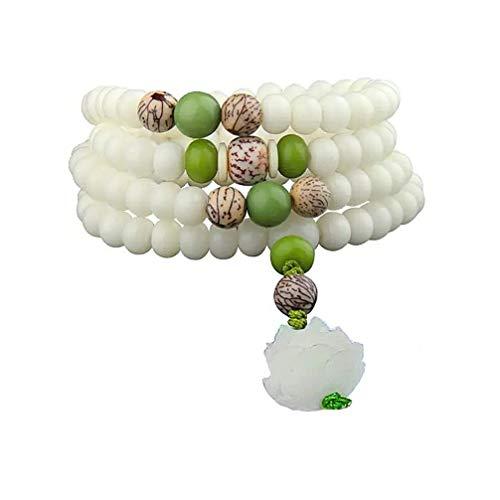 Armband beten, 108 Mala Perlen Weiße Jade Runde Perlen Armband Buddhismus Bodhi Wurzel Lotus schnitzen Anhänger Halskette,A - Buddhismus Perlen Gebet Halskette