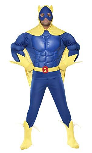 Smiffys, Herren Bananaman Kostüm, Oberteil mit EVA-Brust, Hose, Umhang mit Kapuze, Gürtel, Handschuhe und Überstiefel, Größe: L, ()