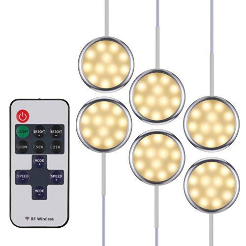 KWOKWEI LED Schrankleuchten, 6er Set Schrankbeleuchtung Schranklicht mit Fernbedienung, 10-stufig...