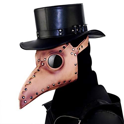 Astrid Erwachsene Für Kostüm - YEGEYA Halloween Maske Neuheit Halloween Kostüm Party Schnabel PU Leder Ball Maske Steampunk Maske ( Color : Braun , Size : 33x23x22cm )