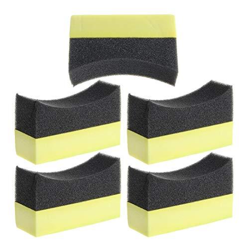 al Automotive Car Wheel Washer Tyre Tire Dressing Applicator Curved Foam Sponge Pad Black+Yellow ()