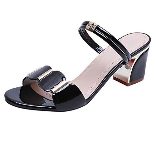 Leather Square Toe Mokassins (Sandalen Damen, Lässige Outdoor Hausschuhe 2019 Sommer Party Schuhe Square Heels Zehentrenner (Schwarz,37 EU)