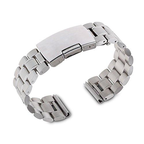 24 mm Edelstahl Uhren Metallband Silber - 24mm Armband Uhrband Uhrenarmband Uhrenband Metall
