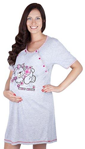 Mija - 2 in1 Hübsches Stillnachthemd & Umstandsnachthemd Nachthemd 2055 U Rosa