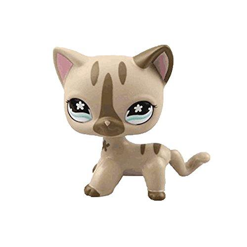 dreamsLE_Pet toy store Pet Shop LPS Spielzeug Kurze Haare Katze Tier Kind Mädchen Jungen Figur Lose Nette Nette Katze Maske für Kinder Geschenk 1 stück Creme Tan Braun Herz Gesicht (Bleib süß Braun)