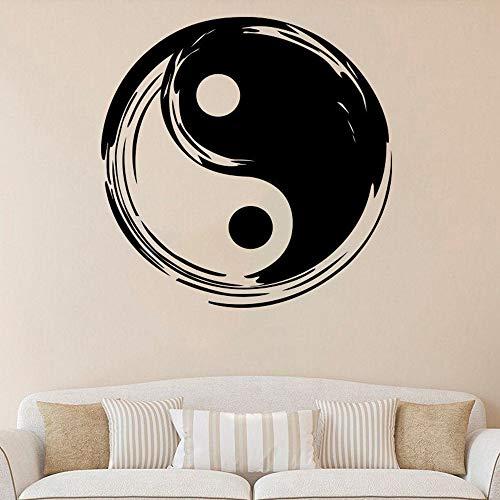 Wsyyw yin yang decalcomania da muro in vinile yoga fitness studio adesivi murali yin e yang impermeabile staccabile vinile decorativo adesivi murali camera da letto giardinaggio domestico 10 57x57 cm