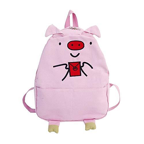 OTENGD Schulrucksack, 20L GroßE KapazitäT Student Bookbag Casual Tragbare Leichte College Travel FüR MäDchen, Leinwand,Pink