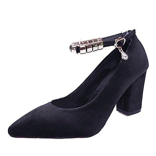 Dimaol Chaussures Femme Cachemire Hiver Talons Confort Pointu Pour Strass Rose Casual Vert Jaune Gris Noir Noir