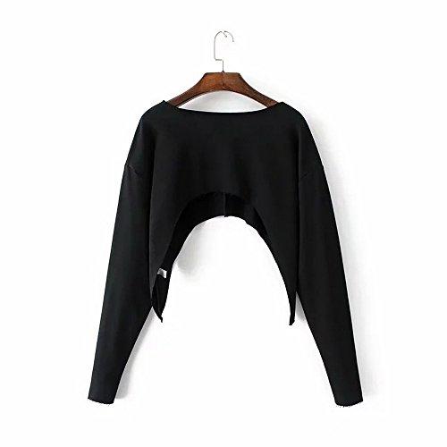 Shujin Femme T Shirt Courte en Manche Longue en Epaule Nu de Couleur Uni Top en Nombril Expos¨¦ Mode Casual Chic Pour Printemps et¨¦, Noir