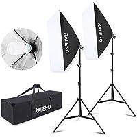 Softbox Dauerlicht Softboxen 2er Set, RALENO 50 x 70cm Tageslicht Studioleuchte Fotostudio Kit Fotolicht Soft-Box mit 85W 5500K E27 Fotolampe Stativ T