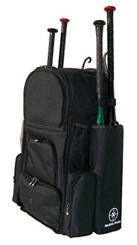 Neues Design groß Vista L in Solid Black Erwachsene Softball Baseball Bat Equipment Rucksack mit innovative Abnehmbare Fledermaus Ärmel und Stickerei Patch