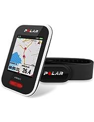 Polar - V650 - Compteur Vélo GPS Intégré avec Ceinture Capteur de Fréquence Cardiaque - Mixte Adulte - Blanc Moyen