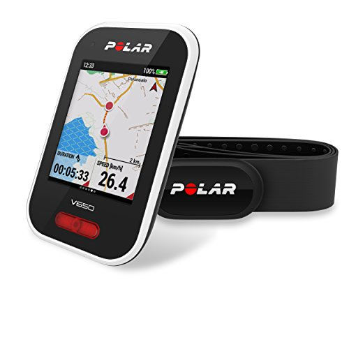Polar V650 HR - Ciclocomputador con GPS y sensor de Frecuencia Cardíaca H10.  Mapas y seguimiento de rutas - Strava live segments - Luz frontal - Compatible con potenciometros BT