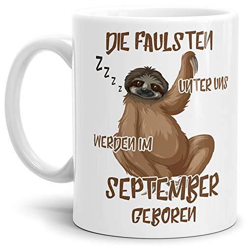 Tassendruck Geburtstags-Tasse Die Faulsten Unter Uns Werden im September Geboren Weiss – Faultier/Mug / Cup/Becher / Lustig/Witzig / Geschenk-Idee/Fun