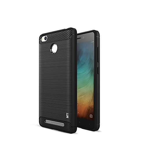 MTT Shock Absorption Carbon Fiber Armor Back Case Cover for Redmi Redmi 3S Prime / Redmi 3S (Black)