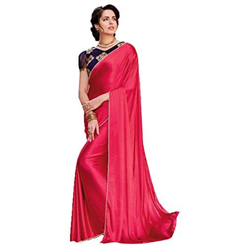 Craftsvilla Women's Satin & Silk Saree With Blouse Piece(Peach ,Free Size)