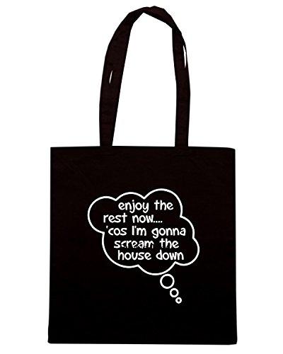 T-Shirtshock - Borsa Shopping ENJOY0130 Pregnancy Message from Baby - Enjoy The Rest Now Nero