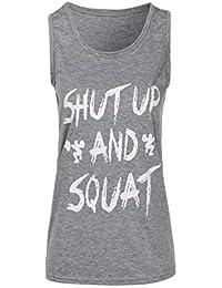 c90d25e591182 T-Shirt DéContracté pour Femme VêTements De Gymnastique Fitness Yoga Lift DéBardeur  DéBardeur sans Manches