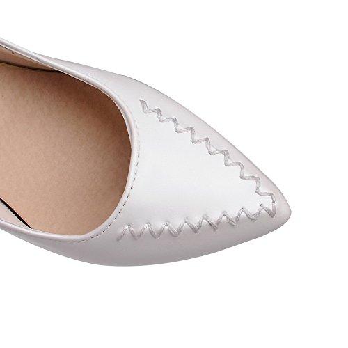 AllhqFashion Damen Spitz Zehe Ziehen Auf Pu Leder Rein Hoher Absatz Pumps Schuhe Cremefarben