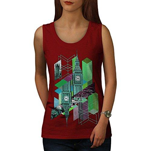 Groß Ben Vereinigtes Königreich Entwurf Mode London Baby Damen Schwarz S-2XL Muskelshirt | Wellcoda Rot
