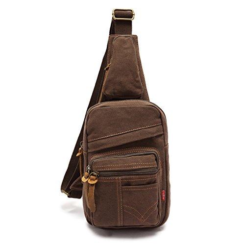 Han Lucky Star Vintage Unisex Canvas Schultertasche Brusttasche Rucksack Sling Bag Body Bag Umhängetasche (Coffee) (Body Bag Handtasche)