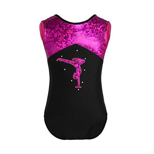 Tiaobug Mädchen Ballettanzug Ballett Body Trikot glänzendes Tanz Kostüm ohne arm Kinder Gymnastikanzug Turnanzug Leotard Gymnastikbody Turnbody Black&Rose 140-152