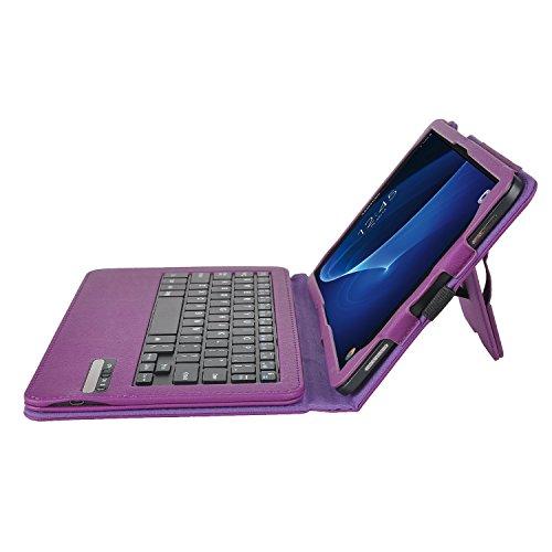 ELTD Samsung Galaxy Tab A 10.1 Tastatur, Detachable Bluetooth Tastatur (QWERTZ Tastatur) mit Standfunction Für Samsung Galaxy Tab A 10.1 T580N / T585N (2016), Lila