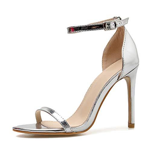 wthfwm Womens Knöchelriemen High Heel Peep-Toe Stiletto Schnalle Sandalen Hochzeit Mode Schuhe Sommer sexy einfache Abnehmen Einer Taste,Silver-38 - Peep-toe-taste