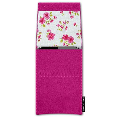 SIMON PIKE Apple iPhone 7 / 6 / 6S Filztasche Case Hülle 'NewYork' in elefantengrau 1, passgenau maßgefertigte Filz Schutzhülle aus echtem Natur Wollfilz, dünne Tasche im schlanken Slim Fit Design für pink Filz (Muster 14)